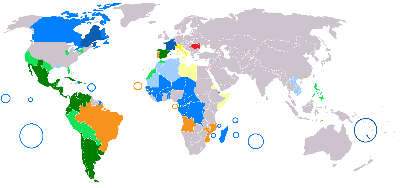 World Map of Major Romance Languages